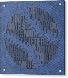 New York Yankees Baseball Typography Famous Player Names On Canvas Acrylic Print by Design Turnpike