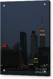 New Yorker At Night Acrylic Print by Avis  Noelle