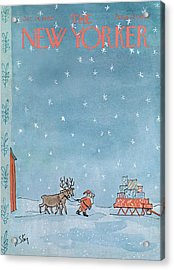 New Yorker December 24th, 1966 Acrylic Print by William Steig