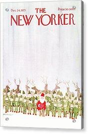 New Yorker December 24th, 1973 Acrylic Print by James Stevenson