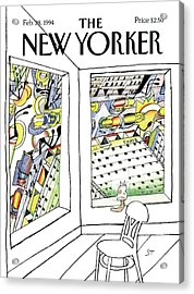 New Yorker February 28th, 1994 Acrylic Print by Saul Steinberg