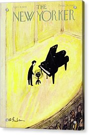 New Yorker Magazine Cover Of A Pianist On Stage Acrylic Print by Aaron Birnbaum