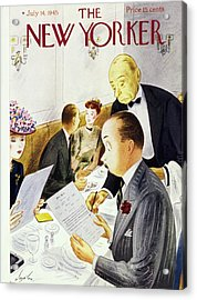 New Yorker Magazine Cover Of A Waiter Crossing Acrylic Print