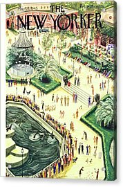 New Yorker Magazine Cover Of Central Park Zoo Acrylic Print by Constantin Alajalov