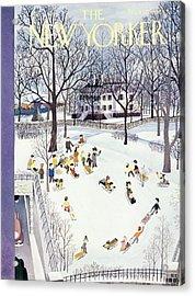 New Yorker Magazine Cover Of Children Sleigh Acrylic Print