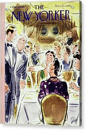 New Yorker Magazine Cover Of People Acrylic Print by Leonard Dove