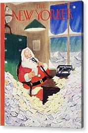 New Yorker Magazine Cover Of Santa Claus Acrylic Print