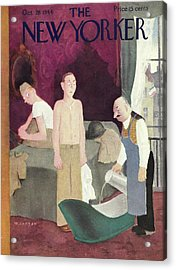 New Yorker Magazine Cover Of Soldiers In A Hotel Acrylic Print