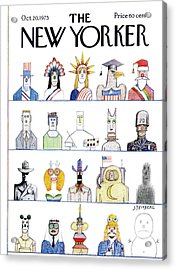 New Yorker October 20th, 1975 Acrylic Print by Saul Steinberg