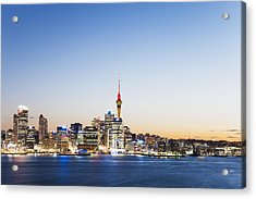 New Zealand, Auckland, Skyline With Sky Tower, Blue Hour Acrylic Print by Westend61