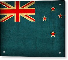 New Zealand Flag Vintage Distressed Finish Acrylic Print by Design Turnpike