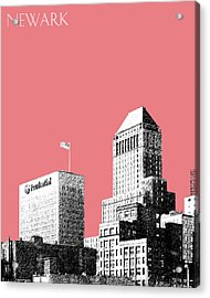 Newark Skyline - Salmon Acrylic Print by DB Artist