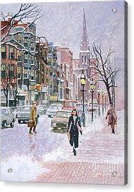 Newbury Street Flurries Acrylic Print by Karol Wyckoff