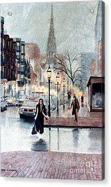 Newbury Street Rain Acrylic Print by Karol Wyckoff