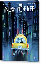 Newlywed Couple In A Taxi Acrylic Print