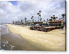 Newport Beach Oceanfront Businesses With Dory Fleet Acrylic Print by Paul Velgos