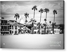 Newport Beach Oceanfront Homes Black And White Picture Acrylic Print
