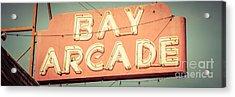 Newport Beach Panoramic Retro Photo Of Bay Arcade Sign Acrylic Print