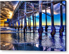 Acrylic Print featuring the photograph Newport Beach Pier - Low Tide by Jim Carrell