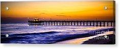 Newport Beach Pier Panorama Sunset Photo Acrylic Print by Paul Velgos