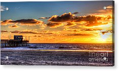 Acrylic Print featuring the photograph Newport Beach Pier - Sunset by Jim Carrell