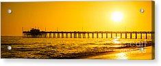 Newport Beach Pier Sunset Panoramic Photo Acrylic Print by Paul Velgos