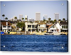 Newport Beach Skyline And Waterfront Homes Picture Acrylic Print by Paul Velgos