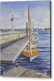 Acrylic Print featuring the painting Newport Boats In Waiting by Carol Flagg