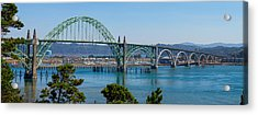 Acrylic Print featuring the tapestry - textile Newport Bridge by Dennis Bucklin