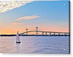 Newport Bridge Twilight Sunset With Sailboat Rhode Island Usa Acrylic Print