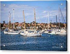 Newport Harbor Boats In Orange County California Acrylic Print by Paul Velgos