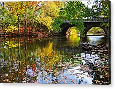 Newton Upper Falls Autumn Foliage Acrylic Print by Toby McGuire