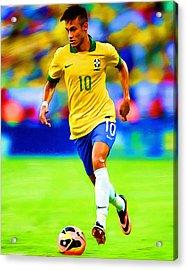 Neymar Soccer Football Art Portrait Painting Acrylic Print by Andres Ramos