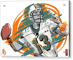 Nfl Legends Dan Marino Miami Dolphins Acrylic Print by Akyanyme
