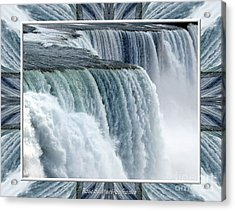 Acrylic Print featuring the photograph Niagara Falls American Side Closeup With Warp Frame by Rose Santuci-Sofranko