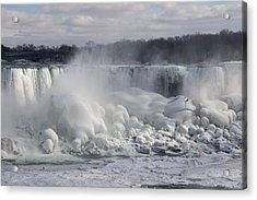 Niagara Falls Awesome Ice Buildup - American Falls New York State Usa Acrylic Print by Georgia Mizuleva