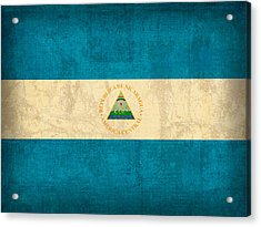 Nicaragua Flag Vintage Distressed Finish Acrylic Print by Design Turnpike