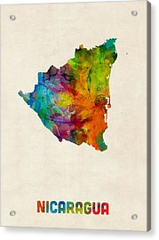 Nicaragua Watercolor Map Acrylic Print by Michael Tompsett
