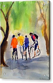Nicasio Bikers Acrylic Print by Tom Simmons