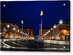Nice France - Place Massena Blue Hour  Acrylic Print