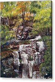 Nice Waterfall In The Forest Acrylic Print
