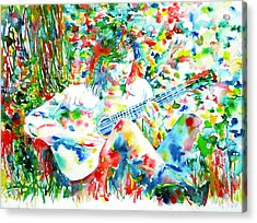 Nick Drake Playing The Guitar Under A Tree Watercolor Portrait Acrylic Print by Fabrizio Cassetta