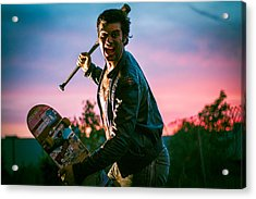 Nick Sommer Thrash Or Die Acrylic Print by Vincent Buckley