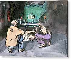 Nick's Volkswagen Shop Acrylic Print by Guy Ottewell