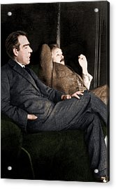Niels Bohr And Albert Einstein Acrylic Print by Photograph By Paul Ehrenfest, Copyright Status Unknown. Coloured By Science Photo Library