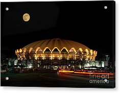 night and moon WVU basketball arena Acrylic Print by Dan Friend