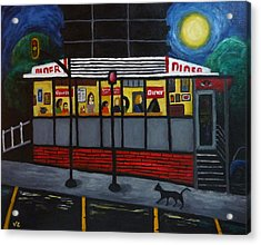Night At An Arlington Diner Acrylic Print by Victoria Lakes