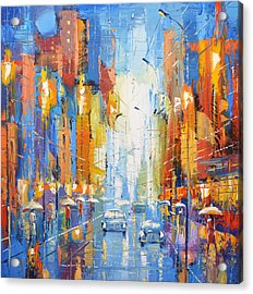 Acrylic Print featuring the painting Night Boulevard by Dmitry Spiros