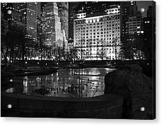 Night Central Park Lake H Acrylic Print