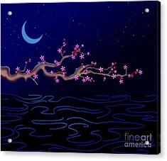 Night Cherry Blossoms Acrylic Print by Bedros Awak